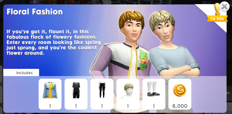 The Sims Mobile Floral Fashion pack