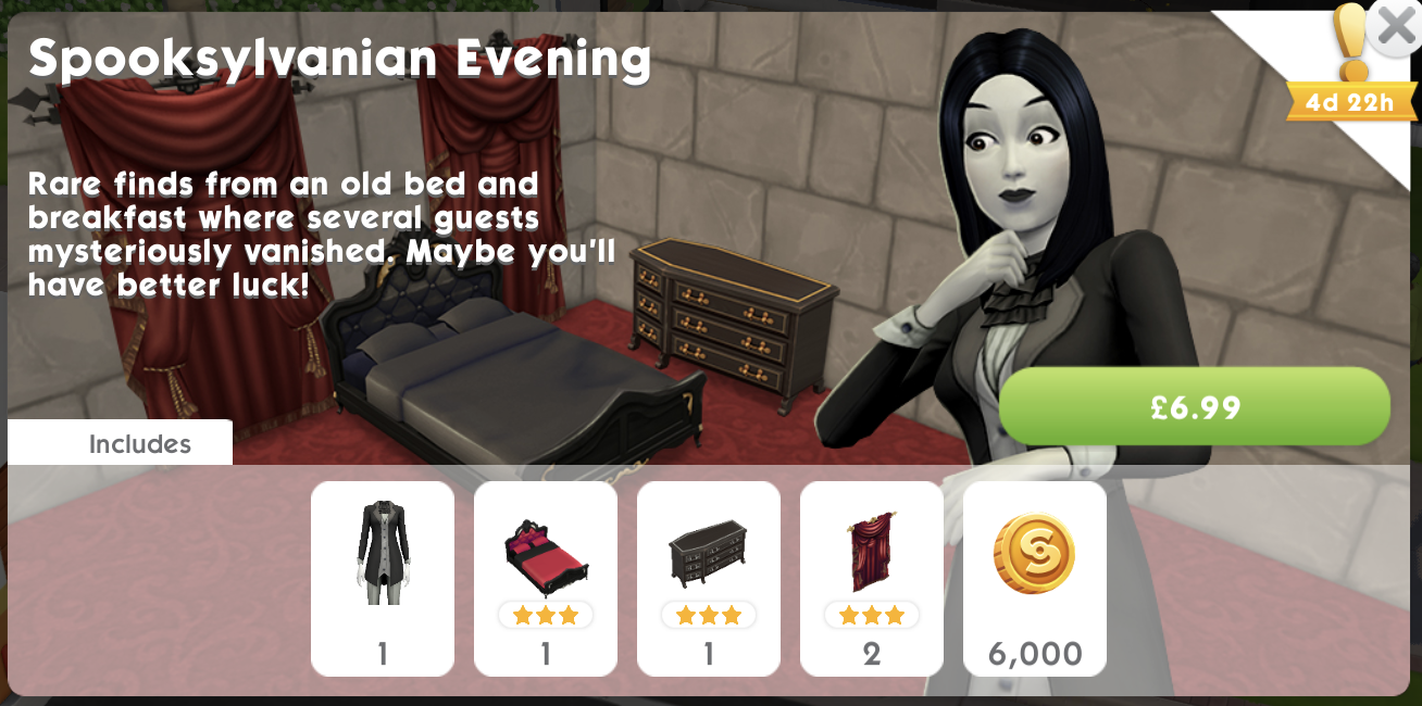 The Sims Mobile Spooksylvanian Evening pack