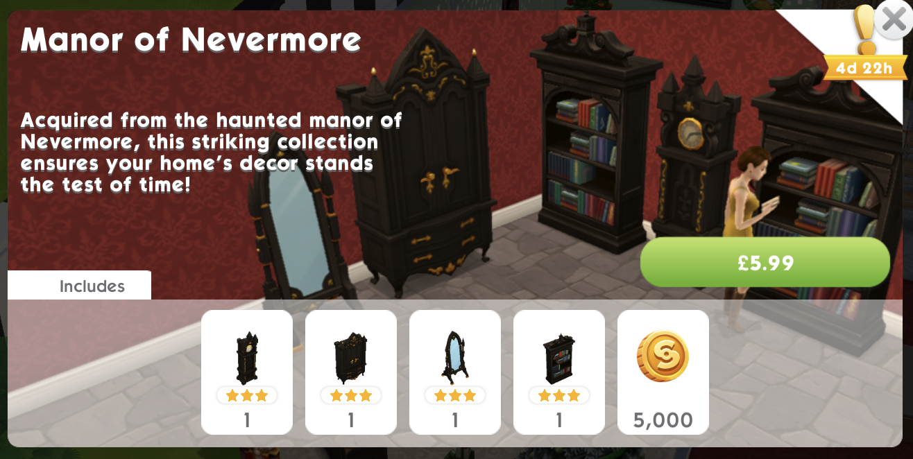 The Sims Mobile Manor of Nevermore pack
