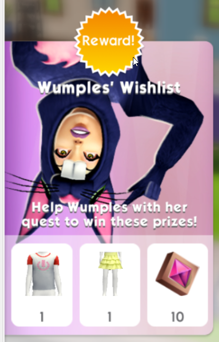 The Sims mobile Wumples' Wishlist February 13th 2021